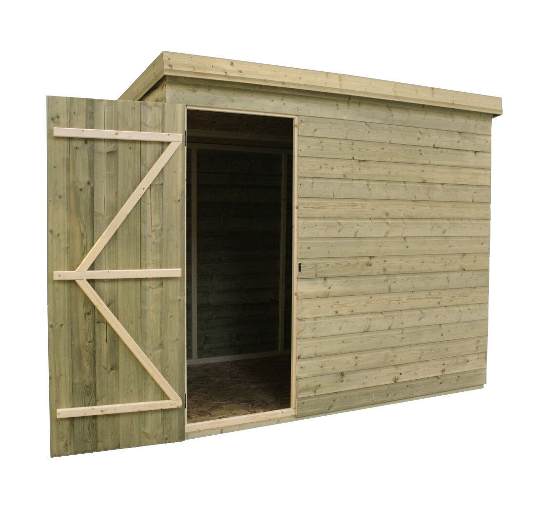 7x6 garden shed shiplap pent roof tanalised pressure treated door left