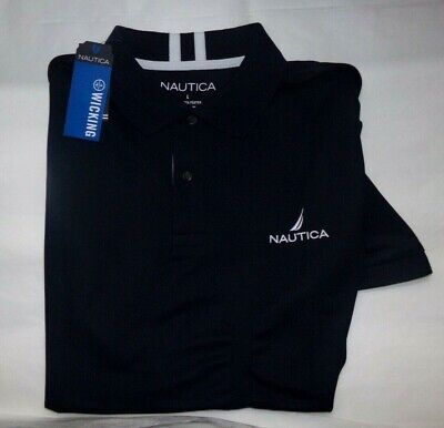NWT MENS  NAUTICA S/S Performance Polo Shirt~NAVY~SZ LRG