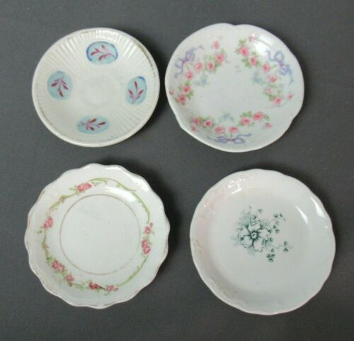 "4 Porcelain Vintage Butter Pats - Floral - Assorted Designs - 3"" wide - 15  14"