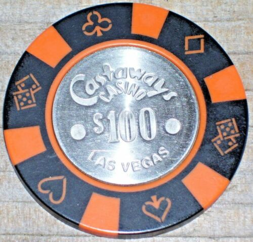 $100 VINTAGE 11TH EDITION GAMING CHIP FROM THE CASTAWAYS CASINO LAS VEGAS