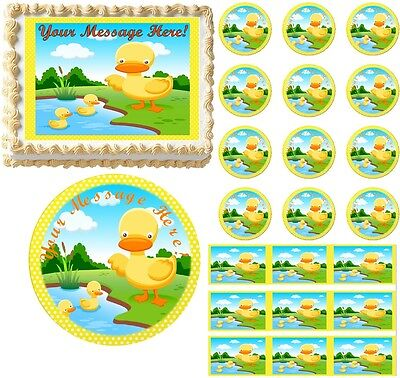 RUBBER DUCKIES Duck First Birthday Baby Shower Edible Cake Topper Image Cake ](Rubber Duck Baby Shower Cake)