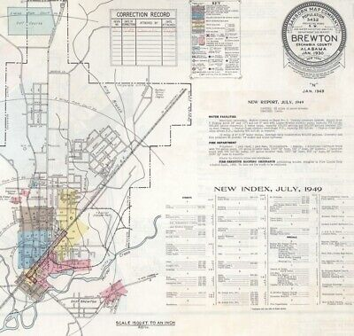 Brewton, Alabama Sanborn Map© sheets made 1893 to 1949  CD~ 33 maps