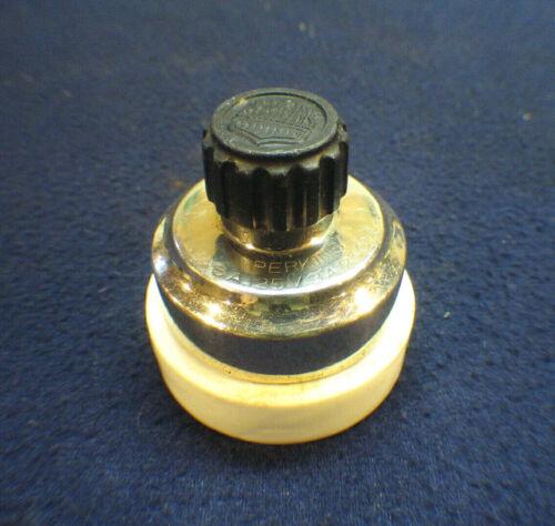 Antique Rotary Turn Light Switch - Chrome / Porcelain Round Single-Pole Perkins