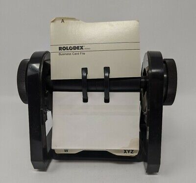 Rolodex Business Card File Rbc-400 Black Plastic Flip Holder Cards Vintage
