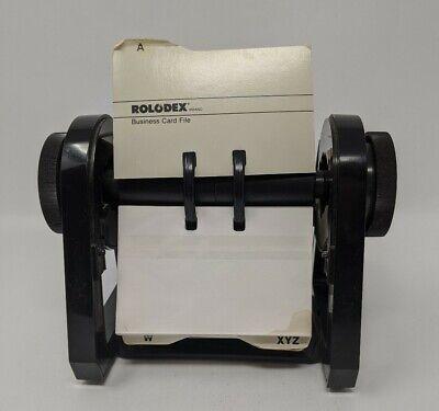 Rolodex Business Card File Rbc-400 Black Plastic Flip Holder Cards Vintage
