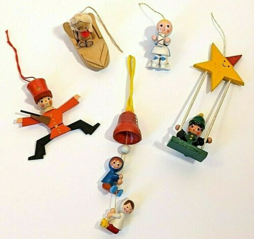 Vintage Wooden Ornament Lot 1970s West Germany Soldier Swing Star Bell