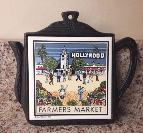 Hollywood Farmers Market Cathay Tile Iron Ceramic Tea Pot Hot Pad Wall Trivet