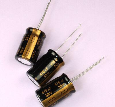 10pcs 470uf 50v 105c Radial Electrolytic Gold Capacitor Low Esr 13mm X 21mm