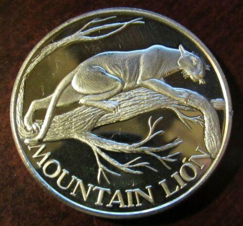 Mountain Lion North American Wildlife Series 2 Troy Oz. .999 Fine Silver Round