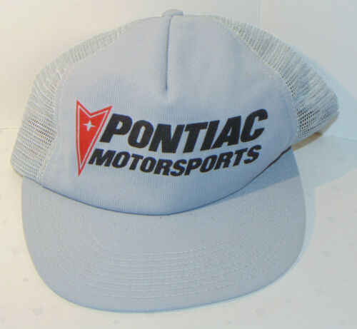 VINTAGE PONTIAC MOTORSPORTS SNAPBACK HAT! MESH! GRAY! TRUCKER STYLE! MADE IN USA
