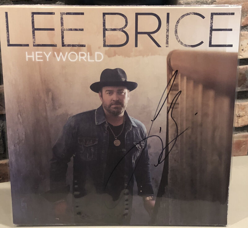 Lee Brice Hey World Exclusive Limited Edition Seaglass Clear 2x Vinyl LP SIGNED