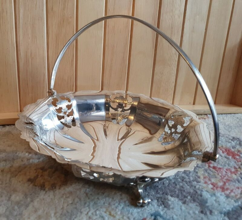 Vintage silver plate footed basket with handle Made in England, EPNS MAP