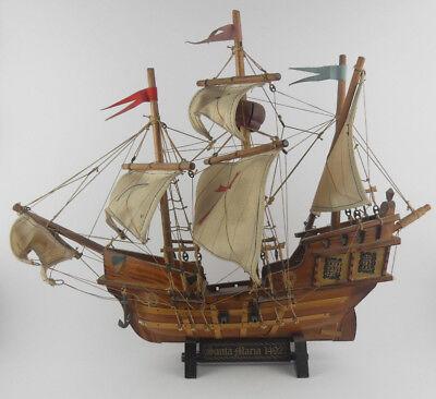 Veliero SANTA MARIA 1492 Modellino Barca Nave in Legno VINTAGE Boat
