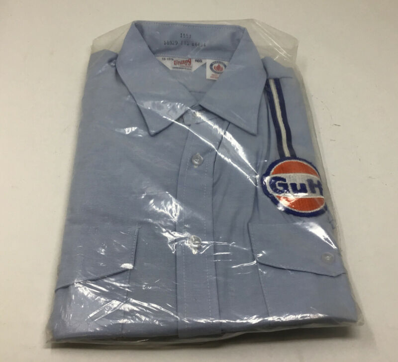 NOS GULF OIL Gas Station Company EMPLOYEE WORK SHIRT & PATCH Free Ship