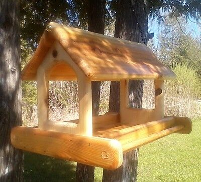 Very large, hanging, cedar wood, fly through platform bird feeder, TBNUP #1H