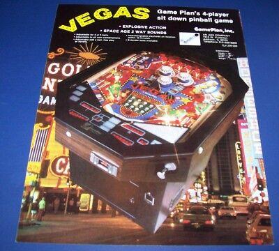 Game Plan 1979 VEGAS Original NOS Flipper Game Arcade Pinball Machine Sale Flyer