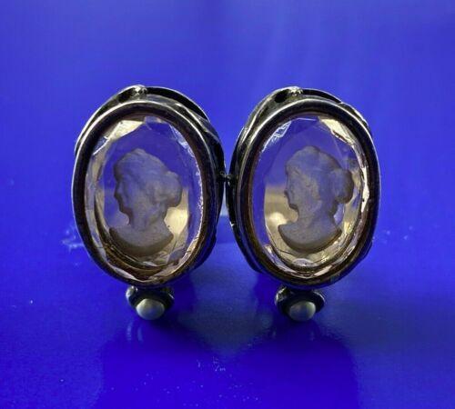 EXTASIA Vintage Estate Faux Pearl Intaglio Peach Glass Cameo Clip On Earrings