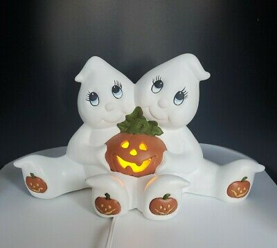 Vintage '95 Halloween Ghosts Jack-o-Lantern Pumpkin Lighted Figure Decor Ceramic