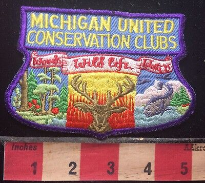 Vtg MICHIGAN UNITED CONSERVATION CLUBS Patch - Gorgeous Embroidered Piece 76Z