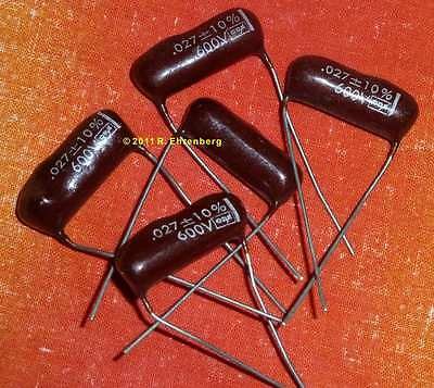 .027 Mfd Uf 600 V Polyester Mylar Film Caps Capacitors Condensers Long Leads Us