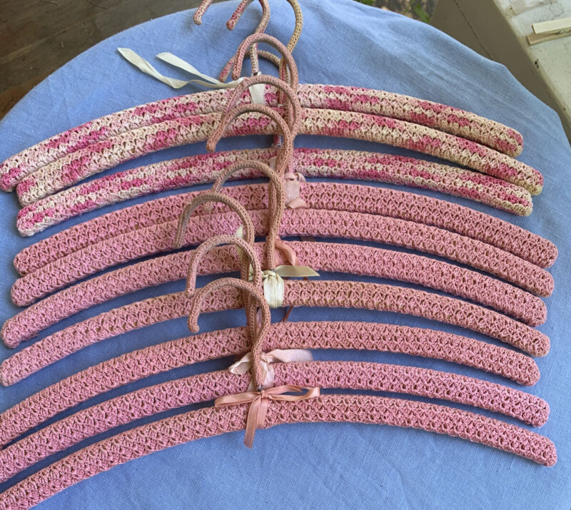 Lot Of 10 Vintage Pink Crocheted Hangers-