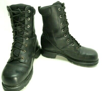 "XELEMENT Mens 9"" Black Leather Motorcycle Biker Work Jump Boots Zip-Up Size 10 M"