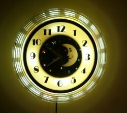 Vintage 1960's Hyman Products Art Deco Moon Wall Clock with Stars, Celestial