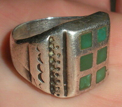 VINTAGE c. 1920 FRED HARVEY OLD PAWN SOUTHWESTERN TURQUOISE SILVER RING vafo
