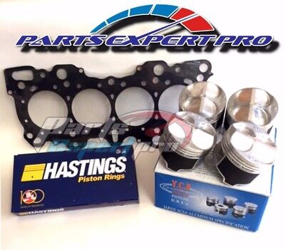 YCP 81MM HIGH COMPRESSION PISTONS HEAD GASKET & RINGS ACURA INTEGRA GSR B18 B16 Piston Compression Rings