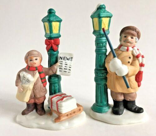 Lot 2 Vtg Lefton Colonial Village Street Lamp Lighter Newspaper Boy Post 06740