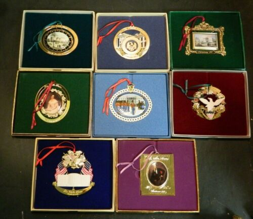 Lot Of (8) White House Historical Association Christmas Ornaments 1992-1999 EXC