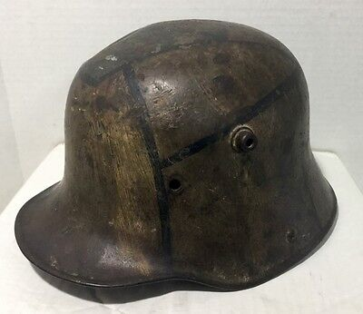 Rare 100% Authentic WWI WW1 GERMAN MILITARY M16 Steel HELMET ET 64 Original Camo