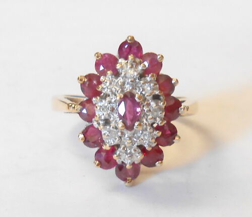 Vintage 10K Yellow Gold Ruby & Diamond Tiered cluster Ring Size 4 Signed GTR