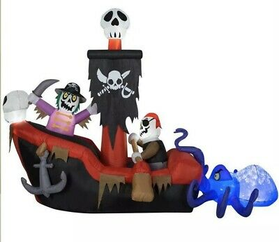Pirate Ship Inflatable (8.9' Gemmy Haunted Animated Skeleton Pirate Ship Inflatable Projection)