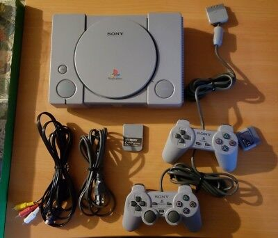 Sony PlayStation 1 PS1 Complete Console Bundle Controllers + Memory Card WORKS!