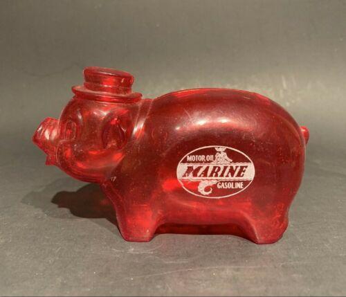 Vintage Marine Motor Oil Gasoline, Red Plastic Figural Red Pig Plastic Coin Bank