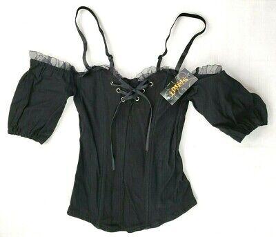 Black Corset Halloween Costume (Spirit Halloween Ladies Corset Black Costume Steampunk Sizes S, M,)