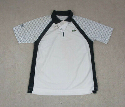 NEW Lacoste Polo Shirt Adult Small Size 4 White Black Big Crocodile Lightweight