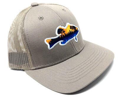 LARGEMOUTH BASS FISHERMAN SUNSET SILHOUETTE LOGO MESH TRUCKER SNAPBACK HAT CAP