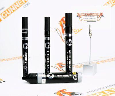 (Molotow Liquid Chrome Pump Marker 1mm-2mm-4mm-30ml refill, or Chrome Marker Set)