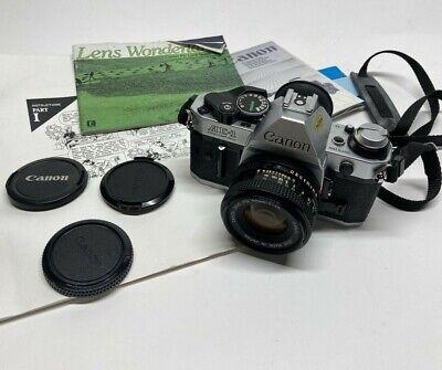 Vtg Canon AE-1 Program 35 MM Film Camera w/50 mm Lens & Manual Used