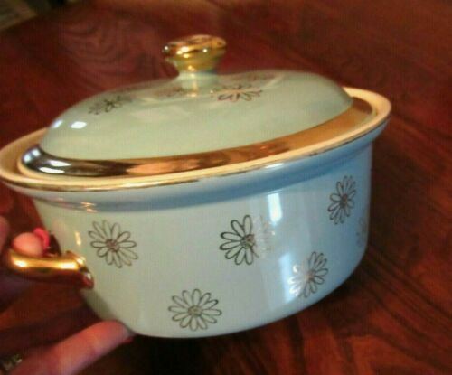 VTG Mid Century Hall's Round Covered Casserole Dish Aqua Blue Gold Daisy