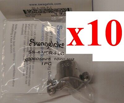 Lot Of 10 New Swagelok Ss-4-vcr-flc Stainless Steel Fitting Lock 14 Inch