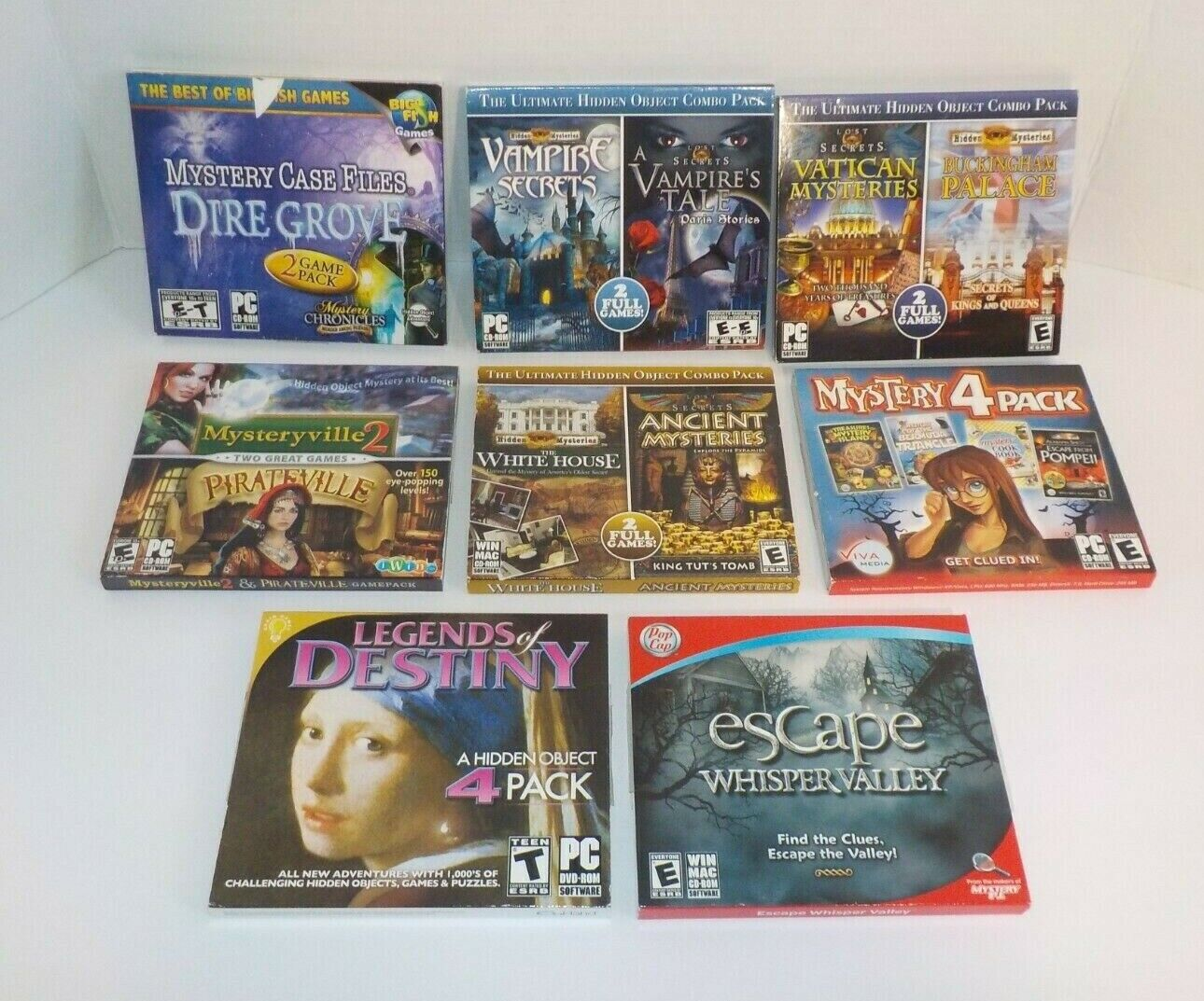 Computer Games - LOT of 8 PC Games Mystery Vintage PC CD Computer Game   B2