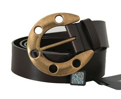 NEW $600 DOLCE & GABBANA Belt Brown Leather Gold Buckle Horseshoe 95cm / 38in