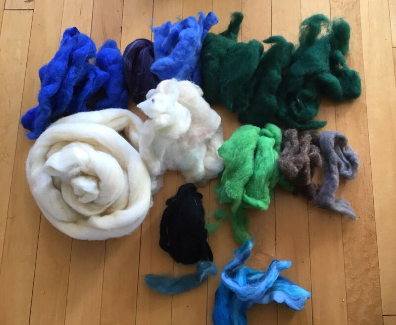 7 oz Wool Roving Lot of Multiple Colors Spinning Wool Needle Felting