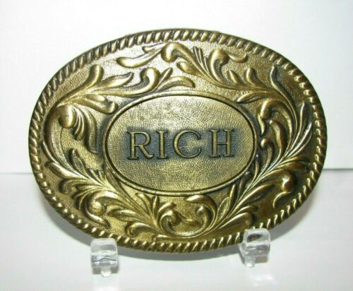 RICH  Name  Western Style Brass Belt Buckle 1977 Manufacture The Kinney Company