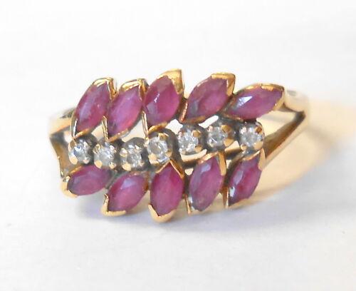 Vintage 14K Yellow Gold Marquise Ruby & Round Diamond Retro Ring Size 6.5