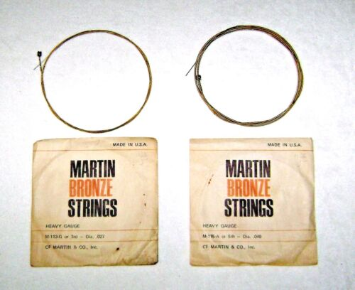 Vintage Martin Heavy Gauge Bronze Guitar Strings G or 3rd .027 + A or 5th .049