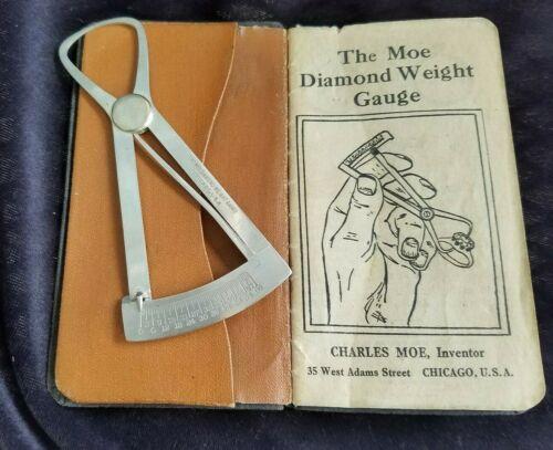 1917 Moe Diamond Weight Gauge Charles Moe Chicago Original Instruction Book Case